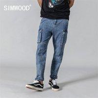 Simwood Spring New Carego Jeans Hommes Mode Hop Spirk Spiry Street Porter une cheville -Length Denim Pantalons en vrac 190332 201111