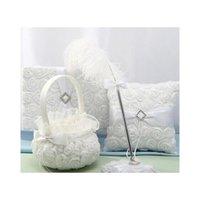 تصميم جديد حفل زفاف الديكور الساتان الخيش bowknot روز زهرة سلة زهرة الفتيات سلة weddin jlliuy mx_home