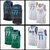 77 Jersey Doncic Kristaps 6 Porzingis Luka 2020 2021 Nouveau DallasMavericks Dirk Nowitzki Blue Green Irving Durant Basketball Jerseys 02
