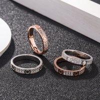 Luxe tiktok dezelfde stijl s sterling zilveren kaart thuis liefde ring mannen en vrouwen paar diamanten ring micro-ingelegd volledige diamant schroef ring fashio