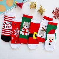 6pairs / porción calcetines de la historieta de Navidad para niños Bebés Niños de invierno la media de edad del bebé Calcetines largos ocasionales Moda 0-10 años de muchachas de los muchachos LY111703