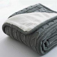 Heißer Verkauf plus Samt dicke gestrickte Decke Hohe Qualität Winter warm gestrickte Wolldecke Sofa / Bettabdeckung Quiltgestrickte Decke 201113