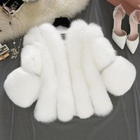 Mode künstliche Pelzmantel Frauen Mädchen 3/4 Ärmel flaumig Kunstpelz kurze dicke Mäntel Jacke Furry Party Mantel CPA2805