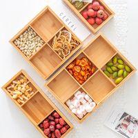Бутылки для хранения бамбуков BAMBOO Wood Treative Сушеные фруктовые коробки 2/3/4/6/9 сетки ореховая контейнер сетки разделенный контейнер