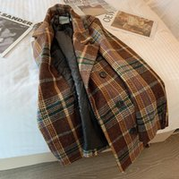 Frauen Wollmischungen Winter Frauen Dunkelbraun Plaid Mid-Long Woolen Mantel Casual Hohe Qualität Warme Mode Lose Jacke