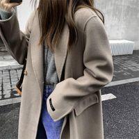 Kadın Yün Karışımları Rezervasyon 2021 Sonbahar / Kış Suit Yaka Kadın Düz Uzun Sözleşmeli Kumaş Elbise içinde Çift Taraflı Kaşmir Coat
