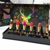 Trucco alci rossetto 6 colori differenti a labbro opaco Set di bastoncino di marca famoso Kit cosmetico di Natale con borse regali