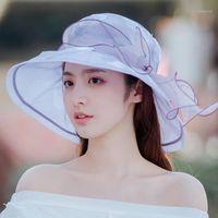 الصيف النساء الأزهار مرن واسعة كبيرة بريم كاب للطي المخملية شاطئ قبعة الشمس الرجعية مزاجه قبعات القوس الكبير 1