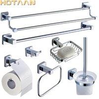 Hotaan 2020 스테인레스 스틸 욕실 액세서리 세트, 가운 후크, 종이 홀더, 수건 바, 비누 바구니, 욕실 세트, 크롬 810700T