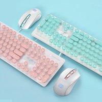 Clavier Souris Combos Pink Retro Gaming et Kit Round KeyCap Steampunk Touche multimédia 1800DPI pour PC Laptop1