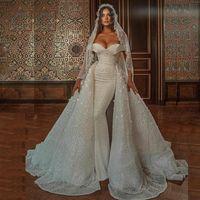 Brilliant Sequin Castle Castle замок свадебные платья с плеча съемный поезд жемчуга свадебные платья арабский Дубай Vestidos de Noiva
