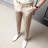 2020 Şerit Pantolon Erkekler Marka Tasarımcısı Slim Fit İngiliz Tarzı Erkek Takım Elbise Pantolon Beyler Casual Elbise Pantolon Bahar Erkekler Giyim Y1114