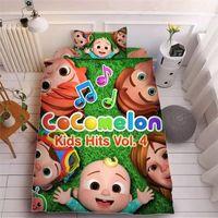 Niños COCOMELON JI PRIMERSIÓN 3D Hoja de cama conjuntos de tres piezas Funda de almohada + Hoja de cama + Cubierta de acolchado Beddings Niños Cocomelón Suministros