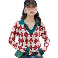 Vintage Plaid Womens Pull tricoté Pulls d'automne Hiver Col V-Col V à manches longues Élégante Femme Femelle Sweet Pull Tricotwear Tops