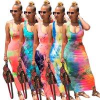 Yelek Elbiseler Yaz Giysileri Tasarımcılar Tie-Boya Seksi Elbise Kadın Elbiseler Moda Kolsuz Jartiyer Rahat Plaj Giyim G12102