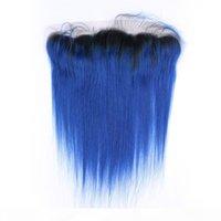 # 1B الأزرق أومبير البرازيلي العذراء حزمة الشعر البشري صفقات مع أمامي مستقيم أومبير الأزرق الداكن الكامل الدانتيل أمامي 13x4 مع نسج حزم