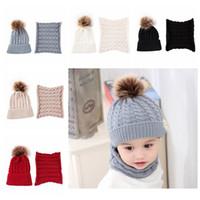 Новые трикотажные Hat Fur Ball Beanie зимы малышей теплый шарф Set Solid Colors Cap Мальчики Hat Cap Дети шарф воротник Xmas Party Hat HH9-3598