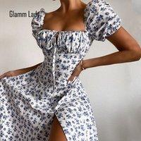 Glamm Dame Floral Print Casual Midi Sexy Party Kleider für Womens trägerlos Herbst Sommer Kleid Club Bodycon Kleid Puff Vestidos Y1224