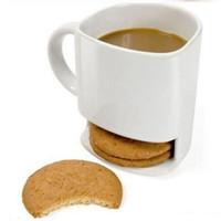 Weiß Glasierte Keramik Becher Kaffee Tee Kekse Milch Dessert Tasse Teetasse Side Cookie Taschen Halter für Home Office 250ml WQ86-WLL