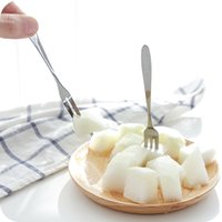 Edelstahl Dessert Kuchen Obstgabel Haushalt Geschirr Dessert Gabeln Spiegeldesign Verdicken Hotel Küche Glatte Griff Gabeln ZZC3388