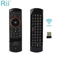 [Genuino] RII I25 / I25A 2.4GHz Mini teclado inalámbrico en inglés / ruso Mosca Mosca Mouse con conector para auriculares para mini PC / ANDROID TV BOX LJ200922