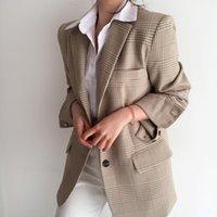 Kadın Yün Karışımları Çentikli Bahar Ekose Ofis Kadın Vintage Yaka Ceket Rahat Bayan Giyim Suits Ceket Kadınlar Blazer Sonbahar