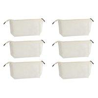 Sac de cosmétique polyvalent avec fermeture à glissière - Pochette naturelle naturelle de bricolage 6-Pack DIY, articles de toilette de voyage en toile de coton,