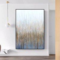 Peinture murale à la main sur toile Vertial Art abstrait Art Décoratif Golden Picture pour salon Lienzos Cuadros Decorativos Z1202
