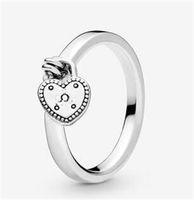 925 فضة القلب قلادة خواتم الزفاف مربع الأصلي ل باندورا شكل قلب خشن الدائري النساء مصمم الدائري 37 O2