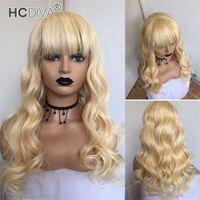 Couleur 613 Bangs Blonde Perruques Brésilien Body Wave 100% véritables Perruques de cheveux Humains Malaisiens Vierge Péruvienne Perruques en CapluSless 150%