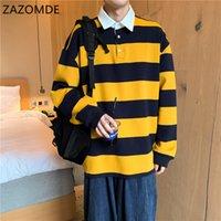 Осенние длинные рукава Harajuku Корея мода полосатый свободные рубашки поло стройную одежду хип-хоп рок панк мужские верхние тройники одежда C1222
