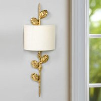 American Country Aisle Wall Lamps Luxury Copper Living Room Wall Branches LED Lights Bedroom Bedside Fabric Shade Fixtures