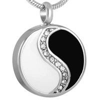 Collane a sospensione IJD8277 Yinyang Style cinese con cristallo per petswomenmen Gioielli di cremazione in acciaio inox in