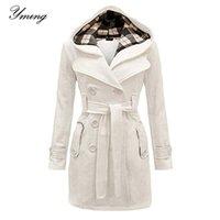 Yming Женская зимняя двубортная теплая середина длины ветровки с поясом мода сплошной цвет одежды элегантная ветровка Y201001