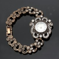 Marrocos Relógio de pulso Flor bonito cristal redondo Pulseiras Assista Mulheres relógio Quartz Relógios Vintage Saudita nupcial Jóias Antique