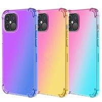 Kleurrijke Candy TPU Clear Phone Case Gradual Change Color Drop-Proof Cases Luchtzak Zachte Shell voor iPhone 7 8Plus XR X Max 11