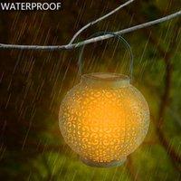LED 태양 광 조절 자동 유도 정원 장식 램프 야외 방수 복고 철 철분 따뜻한 하얀 빛