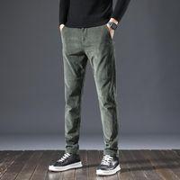 Erkek Kot Kore Tarzı Moda Erkekler Slim Fit Rahat Elastik Kadife İş Uzun Pantolon Vintage Tasarımcı Akıllı Eğlence Takım Elbise Pantolon