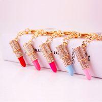 Charme Cristal Keychain Batom Key Titular Rhinestone Chaveiro Vermelho Rosa Pingente de Pingente de Carro Acessórios 5 estilos