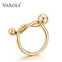 Varole gold farbe einfache hochzeit paare ringe für frauen glatte linie stil geknoteter ring anel schmuck großhandel weihnachtsgeschenk