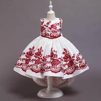 2020 새로운 크리스마스 여자 드레스 자수 꽃 아이 드레스 긴 공주 드레스 여자 공식 드레스 키즈 파티 드레스 B3113