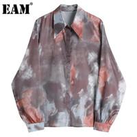 Женские блузки Рубашки [EAM] Женщины Геометрический узор Винтажная блузка отворота с длинным рукавом Свободная подходящая рубашка мода прилив весна осень 2021 1dd0
