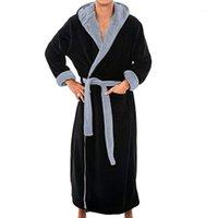 Hombres invierno extra larga albornoz hombre cálido franela largo kimono baño bata abrigo masculino bathrobes noche vestido vestido ropa de casa # 45b1