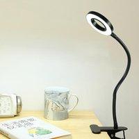 ZernoNo LED Ligado Lâmpada Clipe Leitura Luz Power Potência Preta Flexível Mesa de Mangueira De Mesa De Mesa Cabeceira Home Study Dimmable Bright 5V Anel
