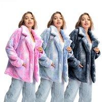 المرأة الفراء فو الشتاء معطف مصبوغ وتتسابق الوردي التعادل صبغ معطف أفخم السيدات التدريجي أزياء سترة chaqueta موهير