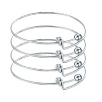 Braccialetti espandibili regolabili in acciaio inox 10pcs Braccialetti in acciaio inossidabile Braccialetti per gioielli di fascino fai da te1