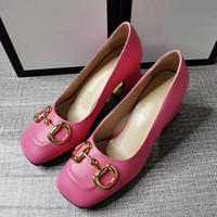 Дизайнер ленивые высокие каблуки модные одежды Обувь одна педаль металлическая конькая пряжка кожаная удобная профессиональная женская обувь красиво мы