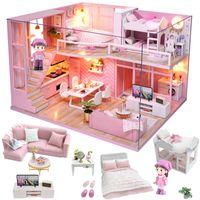 Meubles de poupée de poupée mignonne Maison miniature DIY Miniature Maison Maison Chambre Boîte Théâtre Jouets pour Enfants Stickers Diy Dollhouse D House D LJ200909