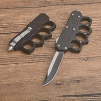 Высококачественные костяшки Авто тактический нож 440C Однократный краемной точкой Точка Drop Tain ZN-AL Ручка лезвия Подарочные ножи с нейлоновой сумкой