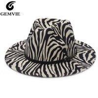 Gemvie 2021 Neue Mode Zebra Fedora Hut Für Frauen Wide Brid Wollfilzhut Für Männer Panama Stil Jazz Kappe Gamble Y0910